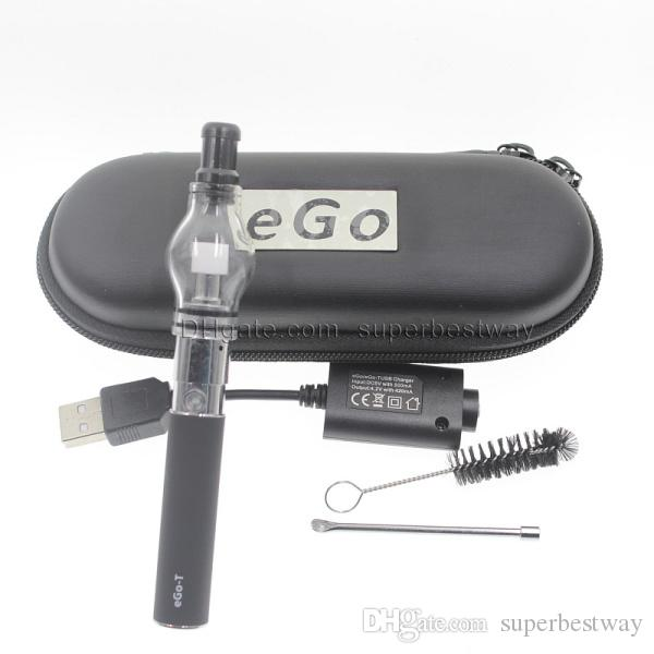 Ego kit starter De Vidro globo tanque cera seca erva atomizador de vapor Pyrex para o cigarro Eletrônico M6 EGO-T Caso Zipper CA0005