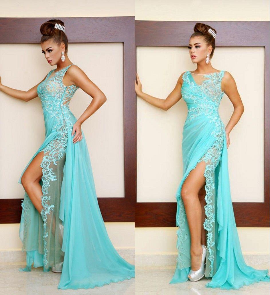 Arabic Romania Lace Mermaid Evening Dresses Sheer Neck Chiffon Floor ...