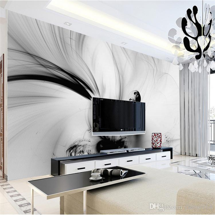 3D Abstract Wall Murals Black White Lines Stripe HD Photo