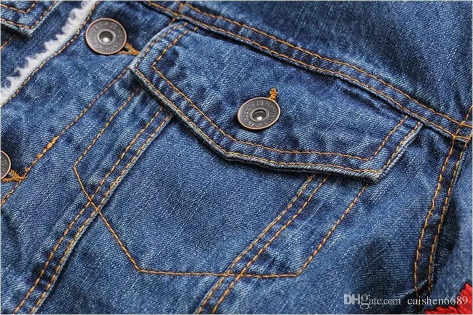 Winter New Fashion Women Clothing Korean Embroidery lamb velvet Cowboy Coat Warm Plus Velvet Cotton Slim Casual Cowboy Jacket Outerwear