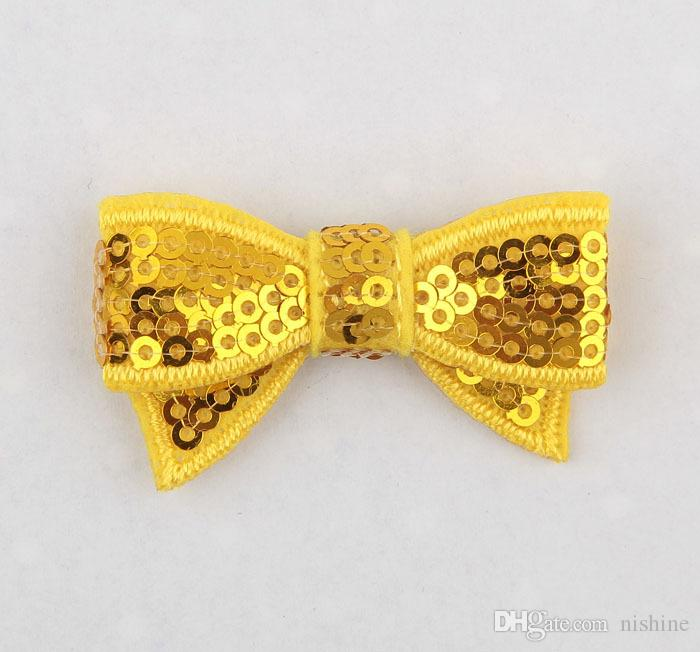 """Nishine 1.8"""" Embroideried Sequin Bows Applique Headband Clip Bows For Kids Girls DIY Hair AccessoriesColor:"""
