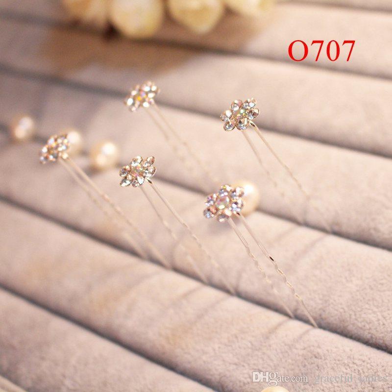 Cute Hair Pins U-shape Bridal Hair Accessories Crystals Babypins Handmade High Quality Rhinestones Flowers Faux Pearls Headwear