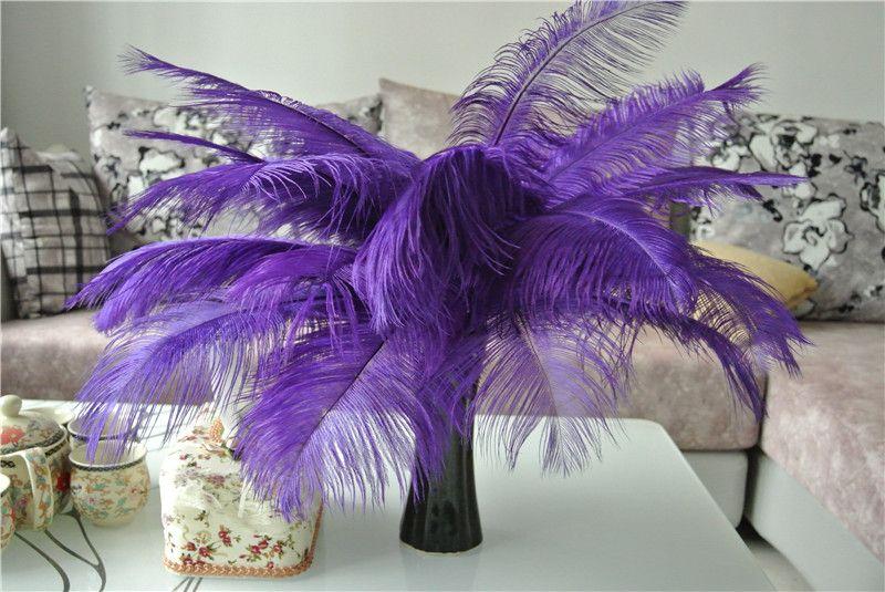 Großhandel 100 stücke 14-16 zoll lila straußenfedern plume für hochzeit mittelstück hochzeit decoraction party tisch mittelstück