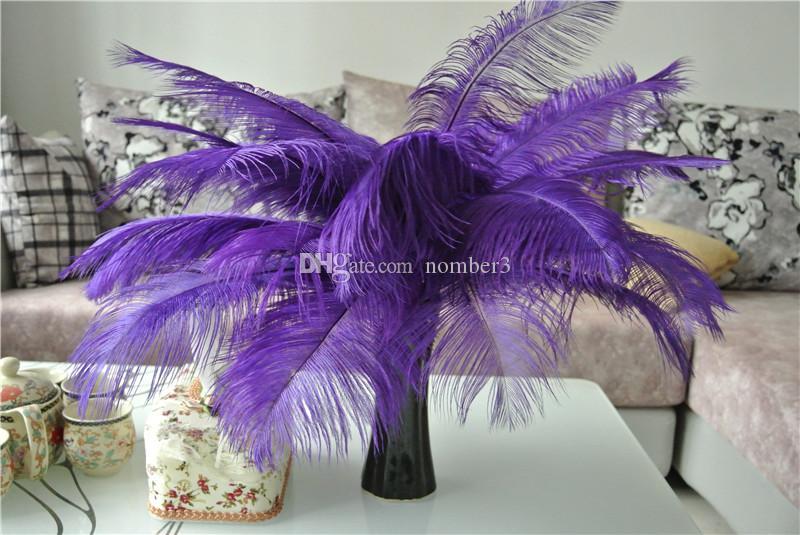 Toptan 100 adet için 14-16 inç mor devekuşu tüyü plume düğün centerpiece Düğün decoraction parti masa merkezinde