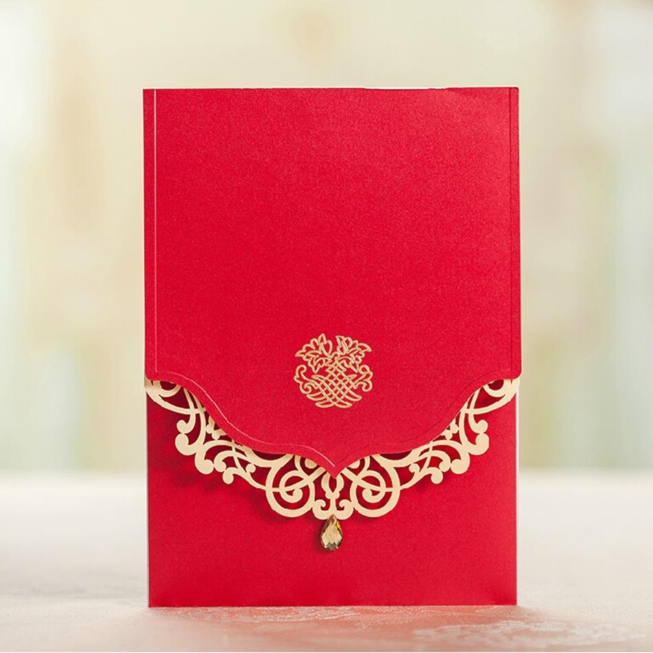 Royal Red Wedding Invitation Card Free Customized Printing 5509 ...