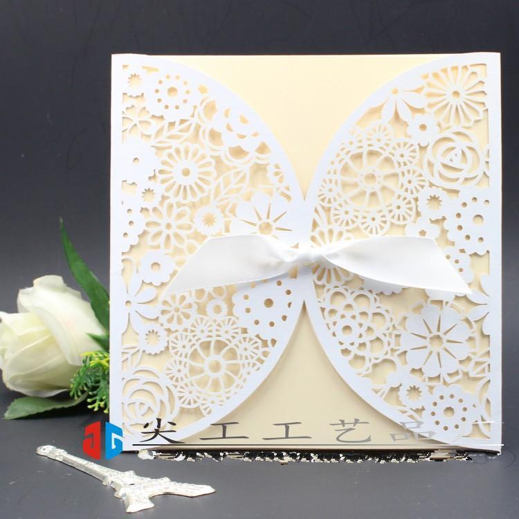 Elegant Printable Laser Cut White Wedding Invitation Card With
