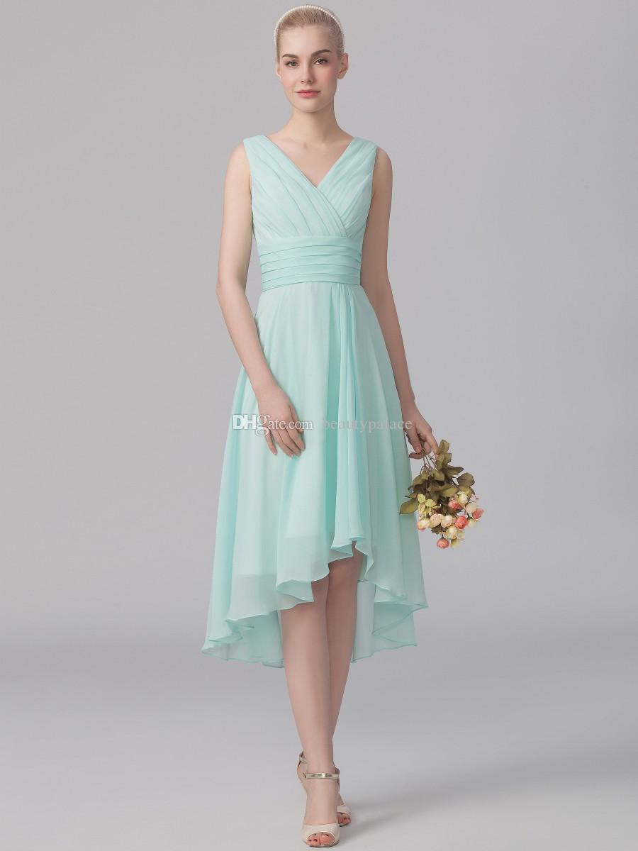 Custom Made A Line V Neck High Low Sage Chiffon Bridesmaid Dress Pleated Beach Style Wedding Reception Party Gowns With Sleeveless