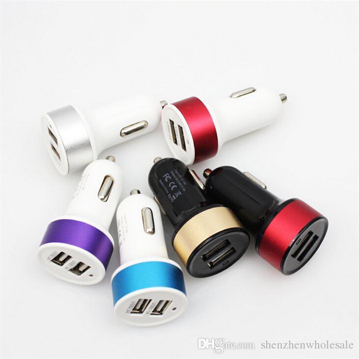 شاحن سيارة USB مزدوج اللون مايكرو ميني 2 USB سيارة محول الطاقة محول للهاتف الذكي الهاتف الخليوي Samsung S4 Note 3 HTC