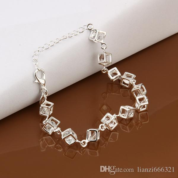 with tracking number Top Sale 925 Silver Bracelet Checkered White Diamond Bracelet Silver Jewelry cheap 1798