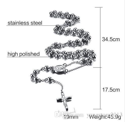 6.0 мм твердые четки бусины Иисус крест ожерелье подвески 18k золото розовое золото подвески мужчины ювелирные изделия бусины цепи