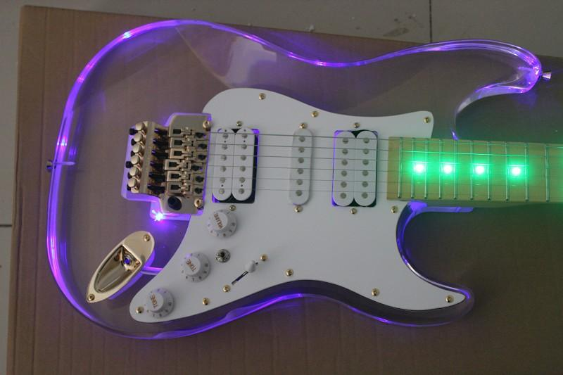 transparent acrylic body st electric guitar with led light floating bridge custom guitar shop. Black Bedroom Furniture Sets. Home Design Ideas