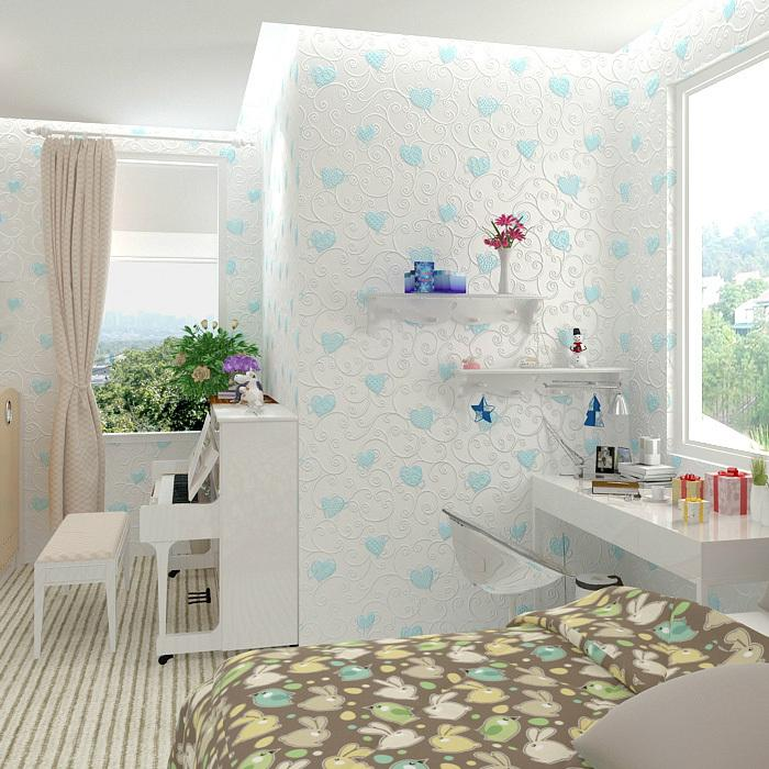 Childrens Wallpaper Roll,Girls Wallpapers Non Woven Bedroom Wallpapers Blue  Floral Wallpaper,Wall Paper For Kids Room Paper Wall