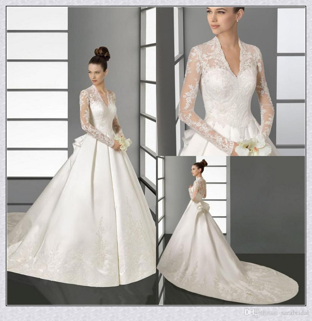 Discount Sheer Long Sleeves Wedding Dresses 2015 Kate Middleton ...