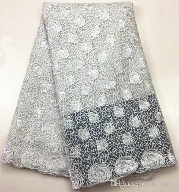 nigerian Lace Fabric wedding dress mesh lace fabrics with pearls african tulle lace fabrics 5yard
