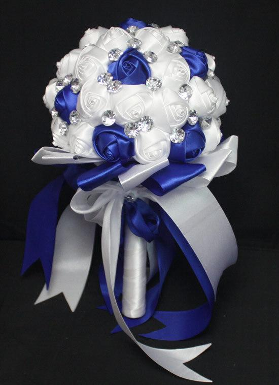 royal blue and white wedding bouquets artificial customized luxury rhinestone bridal flowers exotic flower bouquets fabric wedding flowers