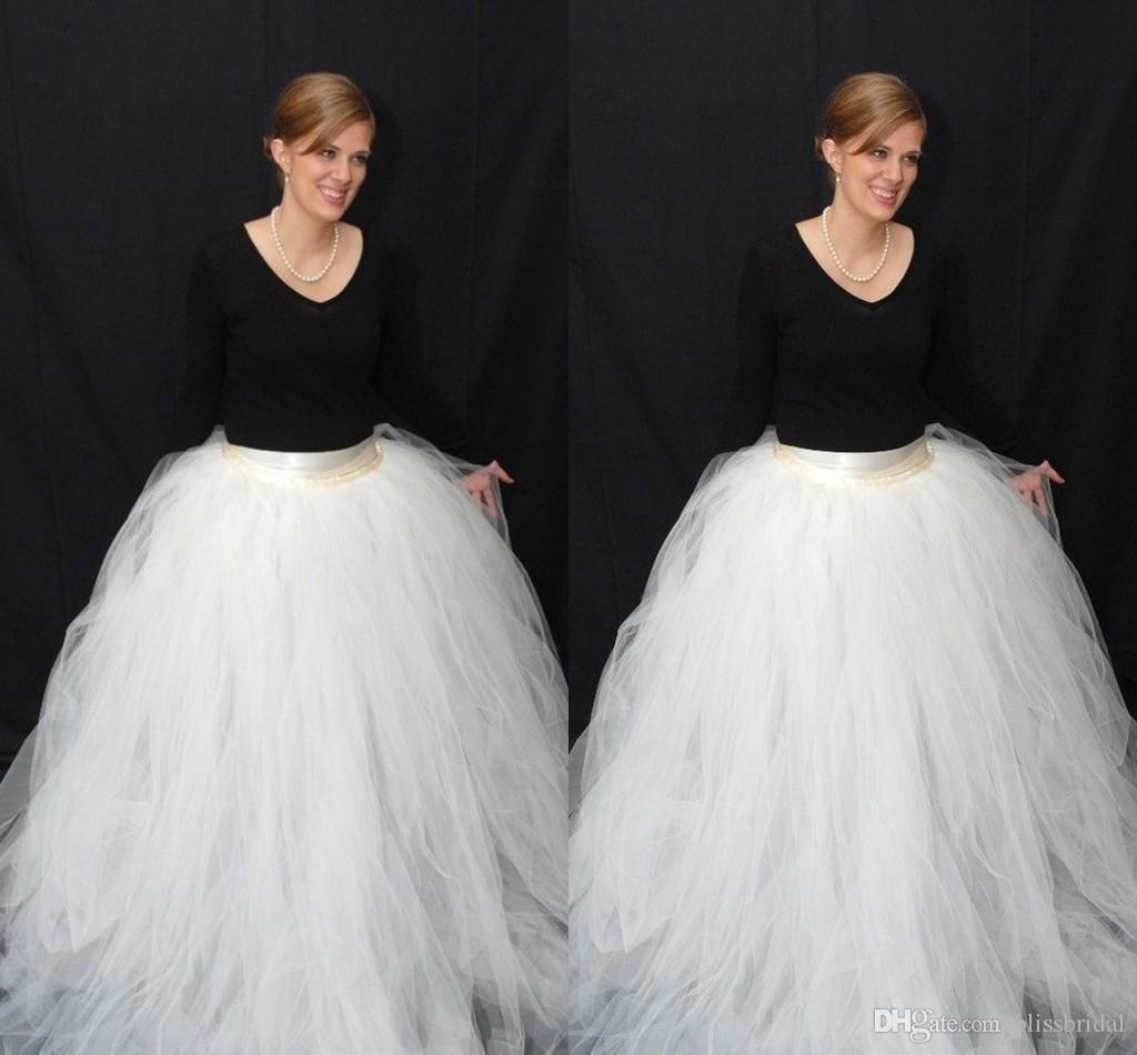 2018 Ball Gown Tulle White Skirts Sweep Train Long Women Dresses ...