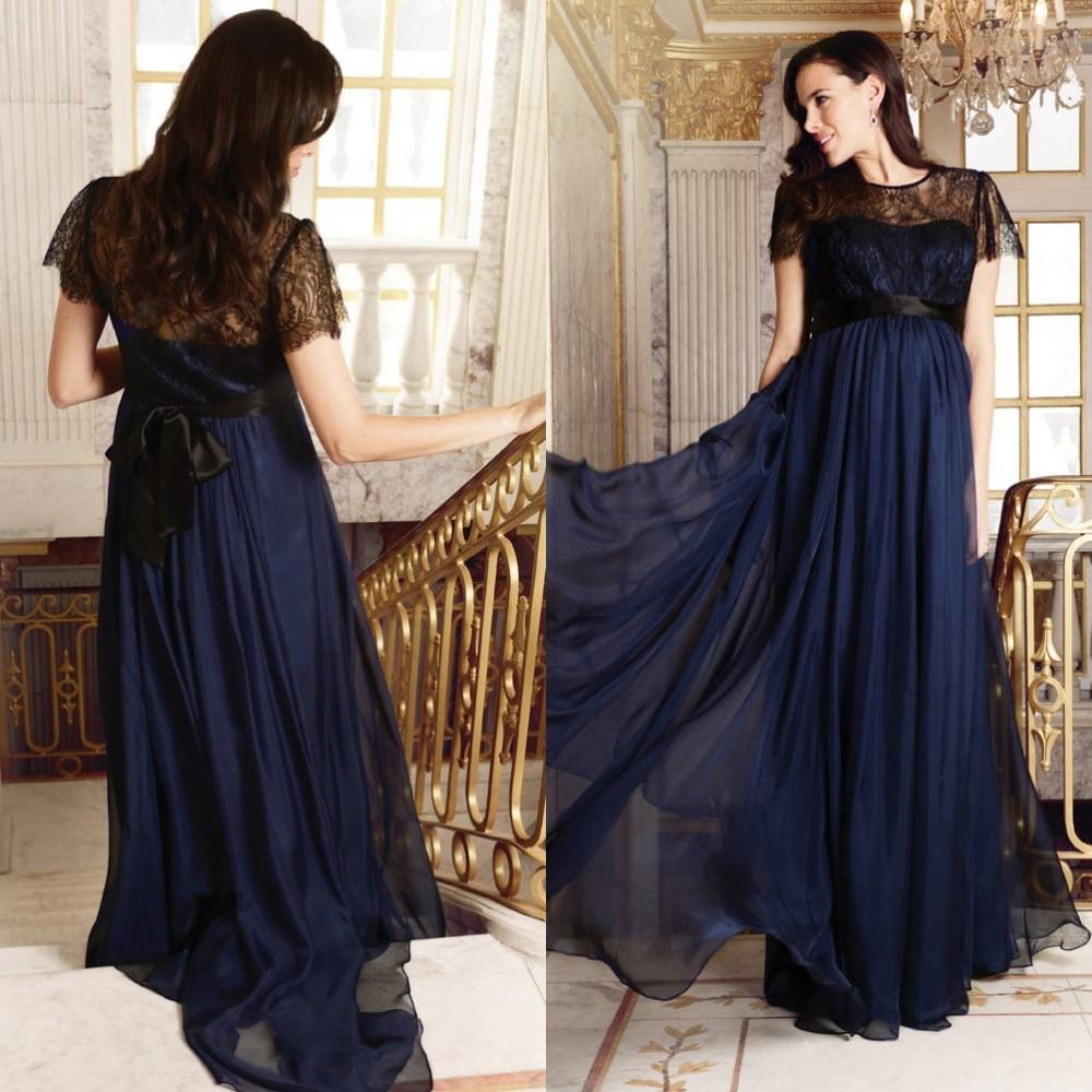 Sexy maternity evening gowns 2015 sheer black lace jewel neck sexy maternity evening gowns 2015 sheer black lace jewel neck short sleeve elegant a line plus size empire navy blue chiffon celebrity dress long dresses ombrellifo Images