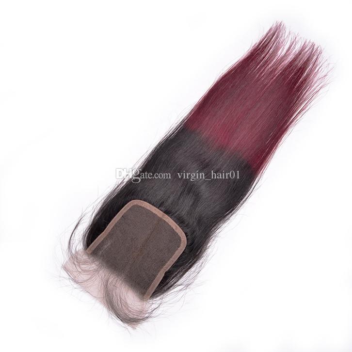 Paquetes de cabello humano Ombre con cierre de encaje Vino tinto de dos tonos de cierre de encaje con paquetes Trama brasileña del pelo de la Virgen 4 Unids / lote