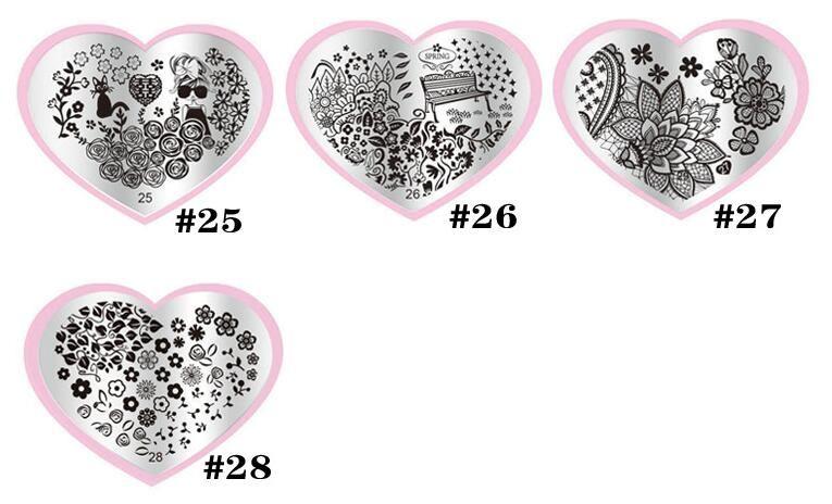 Moda Hot Coração Forma 28 Estilos DIY Polonês Beleza Charme Nail Stamp Stamping Placas 3d Modelos Da Arte Do Prego Stencils Manicure Ferramentas 01-28