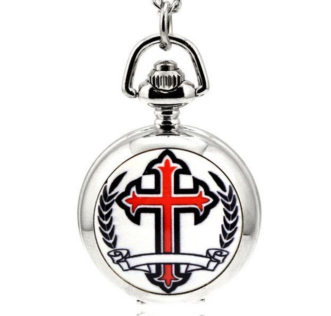 Горячие продажи Мода кварцевый христианский крест узор эмаль Белая сталь унисекс кулон Ожерелье цепи карманные часы