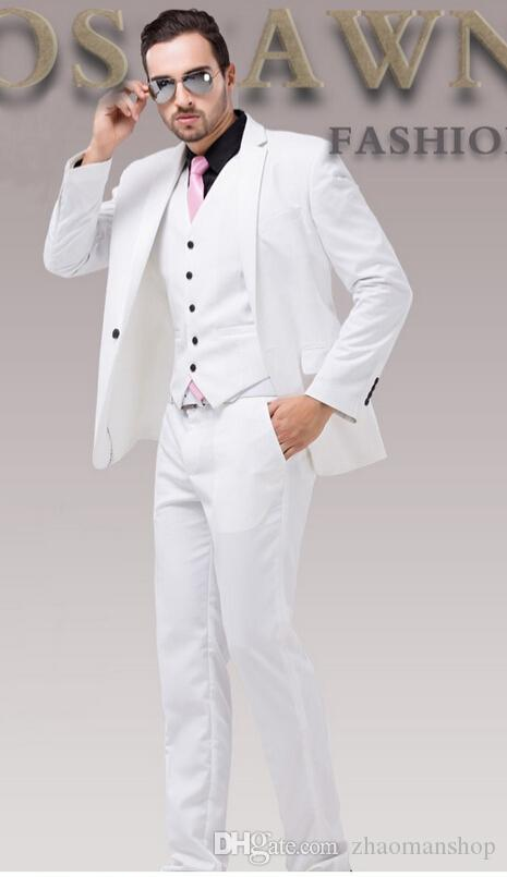 2015 White Wedding Dress Suit Slim Groom Classic Suits Plus Size ...