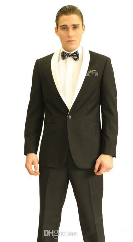 New Arrival One Button Groom Tuxedos Black Best man Shawl White Lapel Groomsman Men Wedding Suits Bridegroom Jacket+Pants+Tie+Girdle