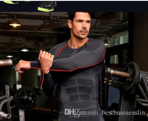 / T-shirt Dos Homens Musculares Forte Treinamento de Fitness Crossfit T shirt Workout Manga Longa Emagrecimento Barriga Roupas