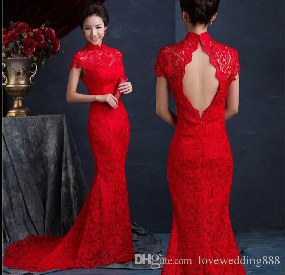 Chinese Style Fish Tail Long Cheongsam Evening Dresses Lace Bride Chinese Qipao Long Mermaid Dress 2019 Prom Dresses