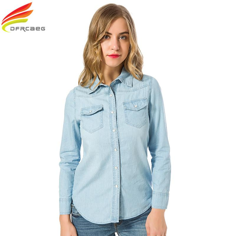 a28ff48dec1 2019 Wholesale New 2017 Autumn Woman Denim Shirt Fashion Style Long Sleeve  Casual Shirts Women Blouses Plus Size Blusa Jeans Feminina From Vanilla03