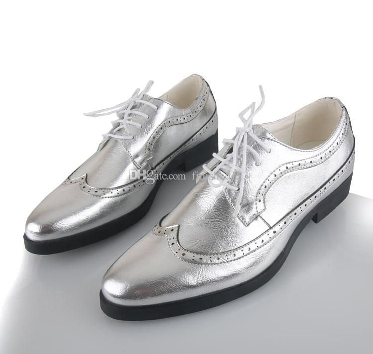 Silver/Gold Men Leather Groom Wedding Shoes Fashion Leisure Men'S Prom Shoes  Leather Casual Shoe Wedding Dress Shoes Business Shoes No:15 Brown Dress  Shoes ...