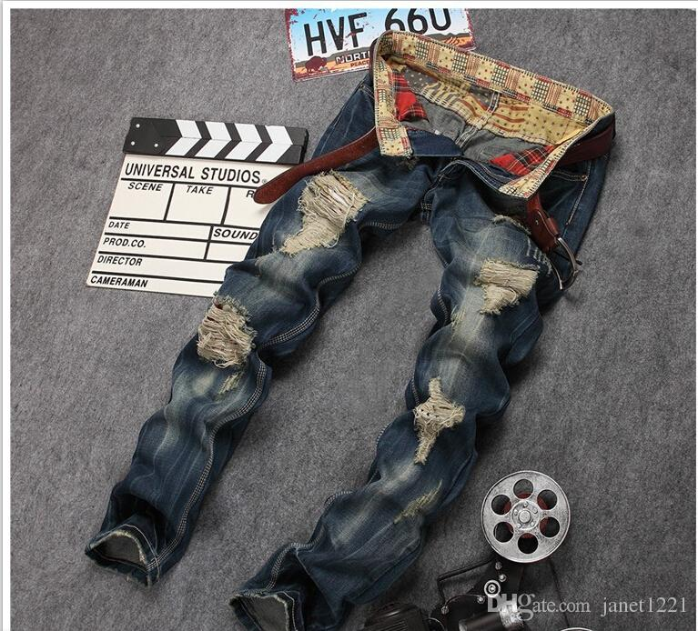 Plus Size Distressed Mens Biker Jeans Ripped Skinny Jeans For Men Hip Hop Casual Fashion Homme Stright Denims Jeans J171103