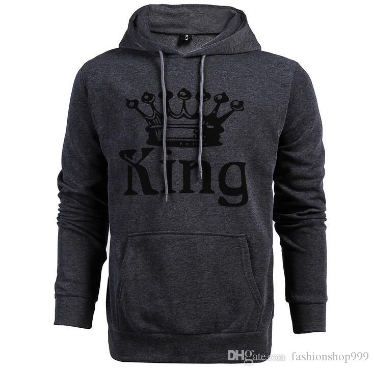 2017 New fashion couple sweater hooded KING QUEEN letters printed long-sleeved plus velvet sweatshirts