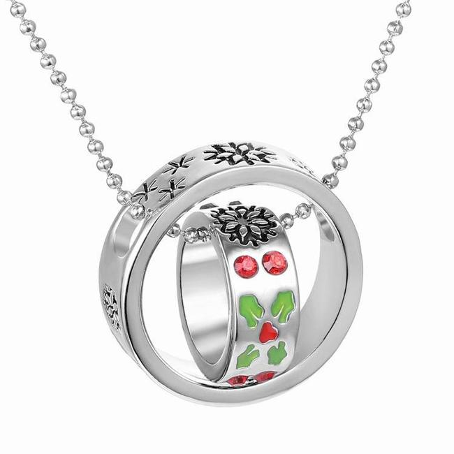 Slide Pendant Necklace Europe & America Style 2 Rings Diamond Creative Personality Necklace 50cm Christmas Gift Clothing Decoration Accessor
