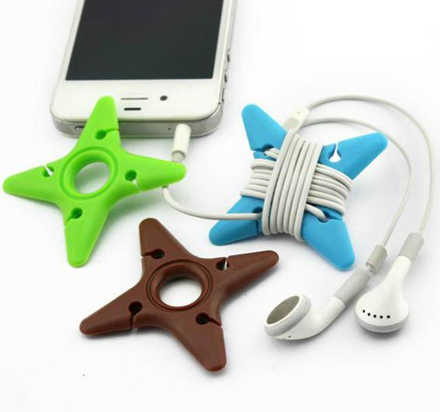 Hurtownie Silikonowa TPU Clipper Clipper Cable / Bobbin Windowca Headphone Cord Nawijarki / Kabel uchwyty dla MP3 MP4