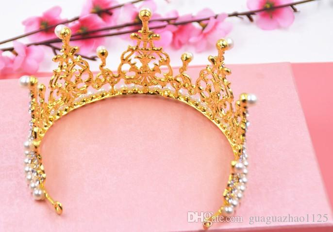 2016 hot A noiva grande coroa Coreano pérola rainha da rainha de casamento da princesa vestido de noiva acessórios