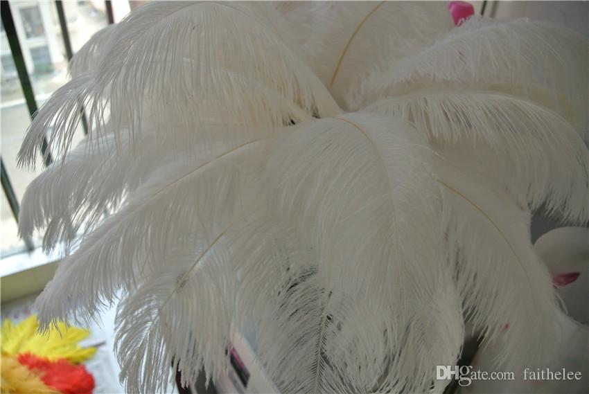 Оптовая 100 шт 14-16 дюймов белый страусиных перьев плюм для свадьбы центральным декор свадьбы поставок вечеринки декор