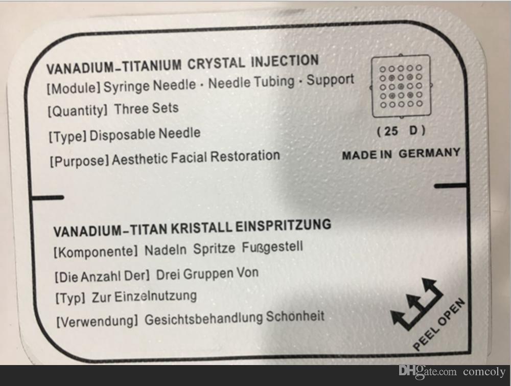 2017 Vanadium Titanium Crystal Needle Cartridge para Dispositivo de Inyección de Alta Presión Blanqueamiento de La Piel Mesotherapy Free Mesotherapy