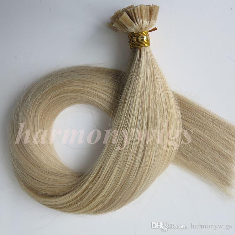 100 Fios = 1 Conjunto 100g Pré Ligado Ponta Plana Extensões de cabelo humano 18 20 22 24 polegadas M27613 cor Brasileira Indiano Queratina Cabelo Humano