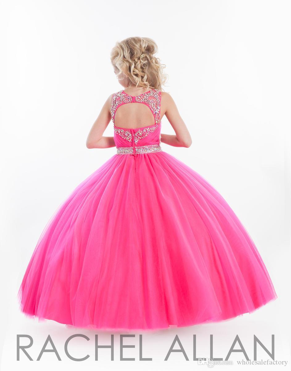 Ballkleid-Blumen-Mädchen-Kleider Sheer Jewel Tulle wulstige Strass RuchedKey Loch Reißverschluss hinten Little Girl Pageant Kleider Formal Wear BA0236