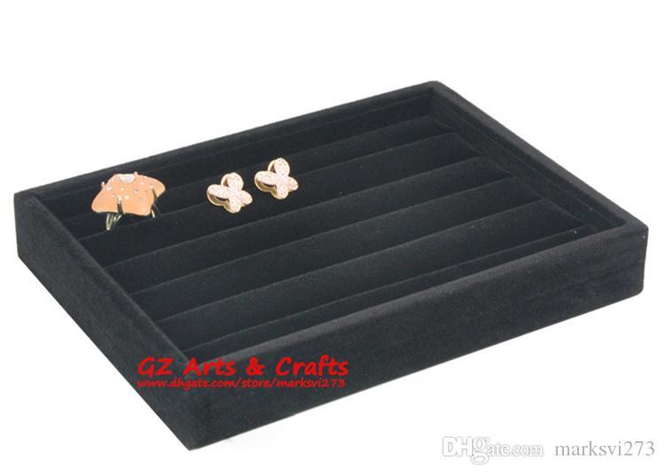 Velluto di qualità gioielli casella anello orecchino titolare gioielli display stand stand antipolvere spine mostrano vassoio in legno gioielli organizzatore