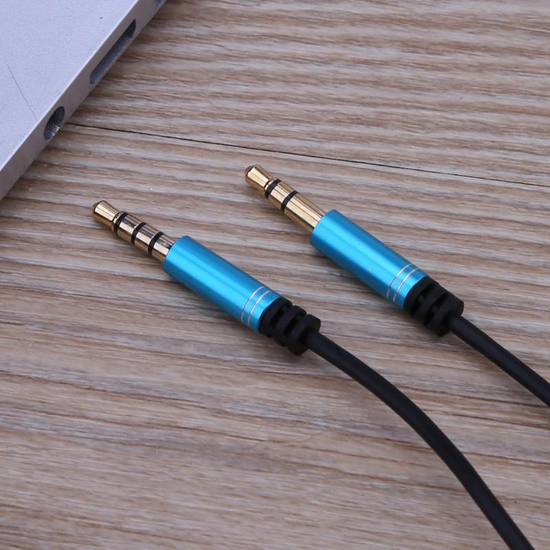 3.5mm Male to Male Audio Extension Cable Cord Wire Line with Microphone Volume Control for Car Audio System Amplifier 1m