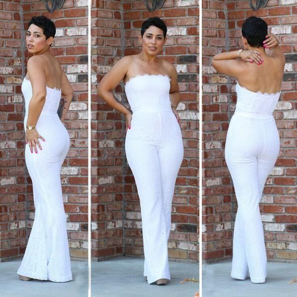 Elegant White Jumpsuit Evening Dresses Strapless Full Lace Bodice Pants Women Formal Bridal Party Gown Custom 2019