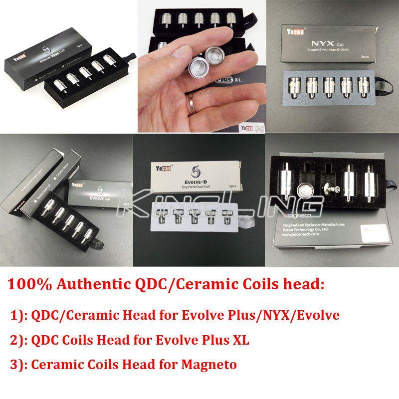100% Original Yocan Evolve Plus Evolve Pandon Evolve-D Torch NYX Cerum Wax Herbal Coil Quartz Dual QDC Ceramic Donut Core Heads Authentic