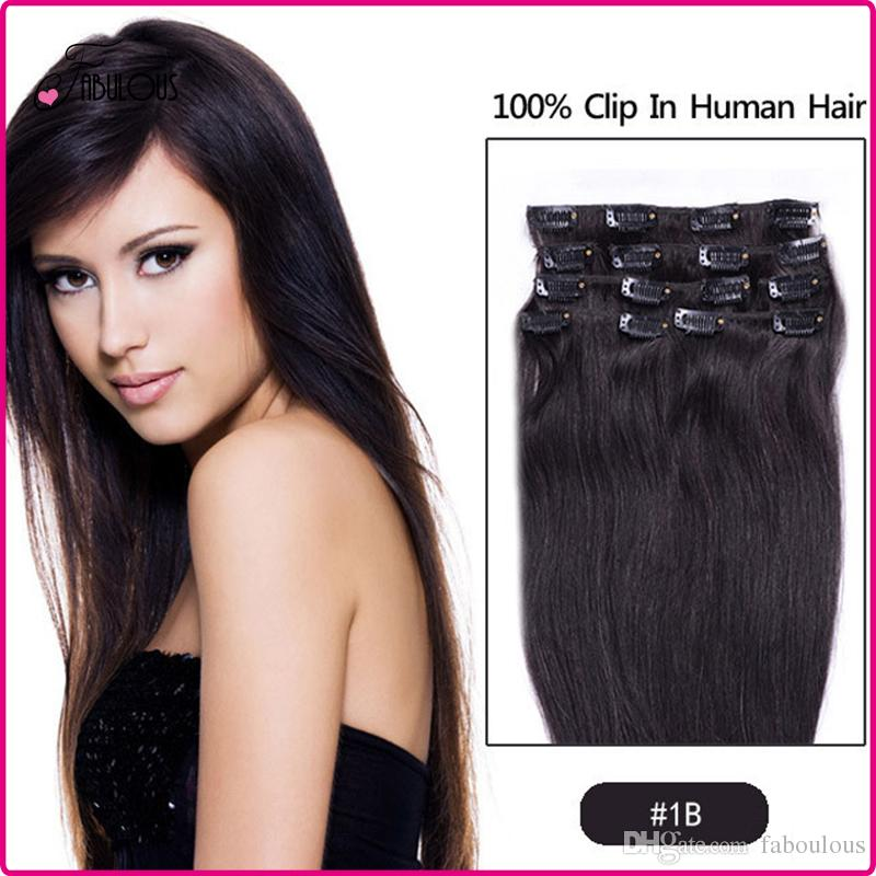 7a 15 24inch Clip In Human Hair Extension Brazilian Human Hair Set