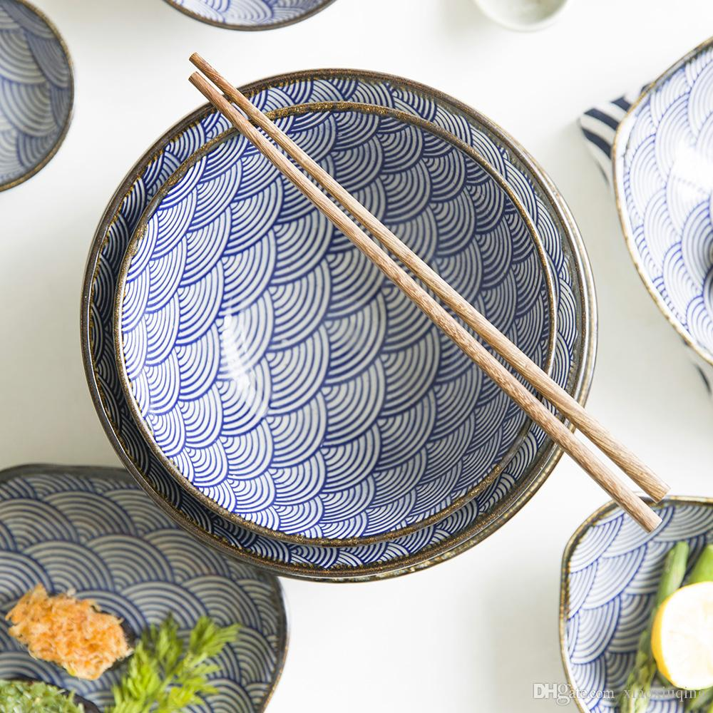 Underglaze Color Japanese Wave Pattern Ceracmic Dinnerware Pasta Plate Rice Bowl Porcelain Saucer Dish Casual Dinnerware Sets For 8 Cat Dinnerware Sets From ... & Underglaze Color Japanese Wave Pattern Ceracmic Dinnerware Pasta ...