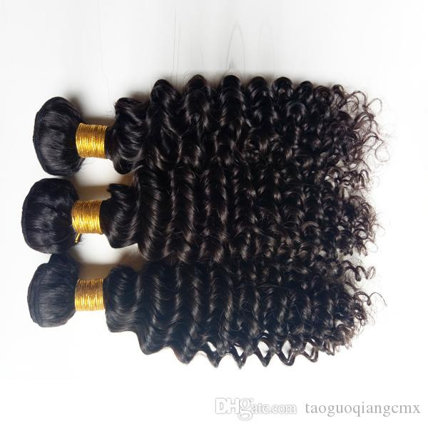 Brazilian virgin human hair weaves beauty kinky curl hair extensions Indian Remy hair weft Natural Color and Black #1 #1b for Black woman