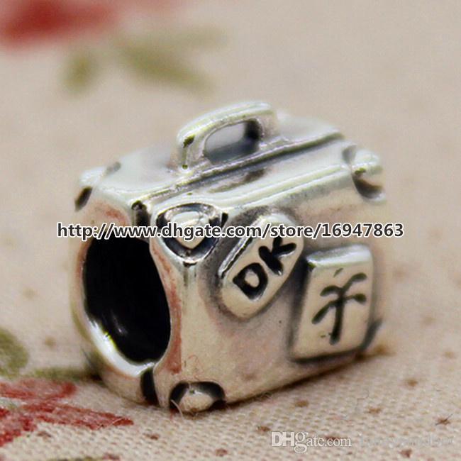 Hochwertige 100% S925 Sterling Silber Koffer Charm Bead passt europäischen Pandora Style Schmuck Armbänder Halsketten Anhänger