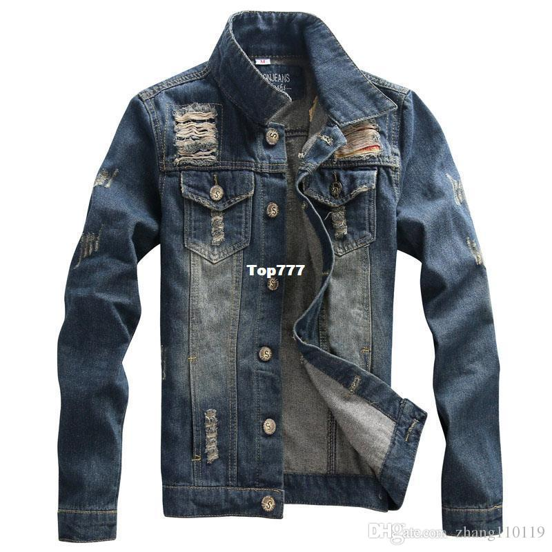 Denim Jacket Men High Quality Fashion Jeans Jackets Ripped Holes