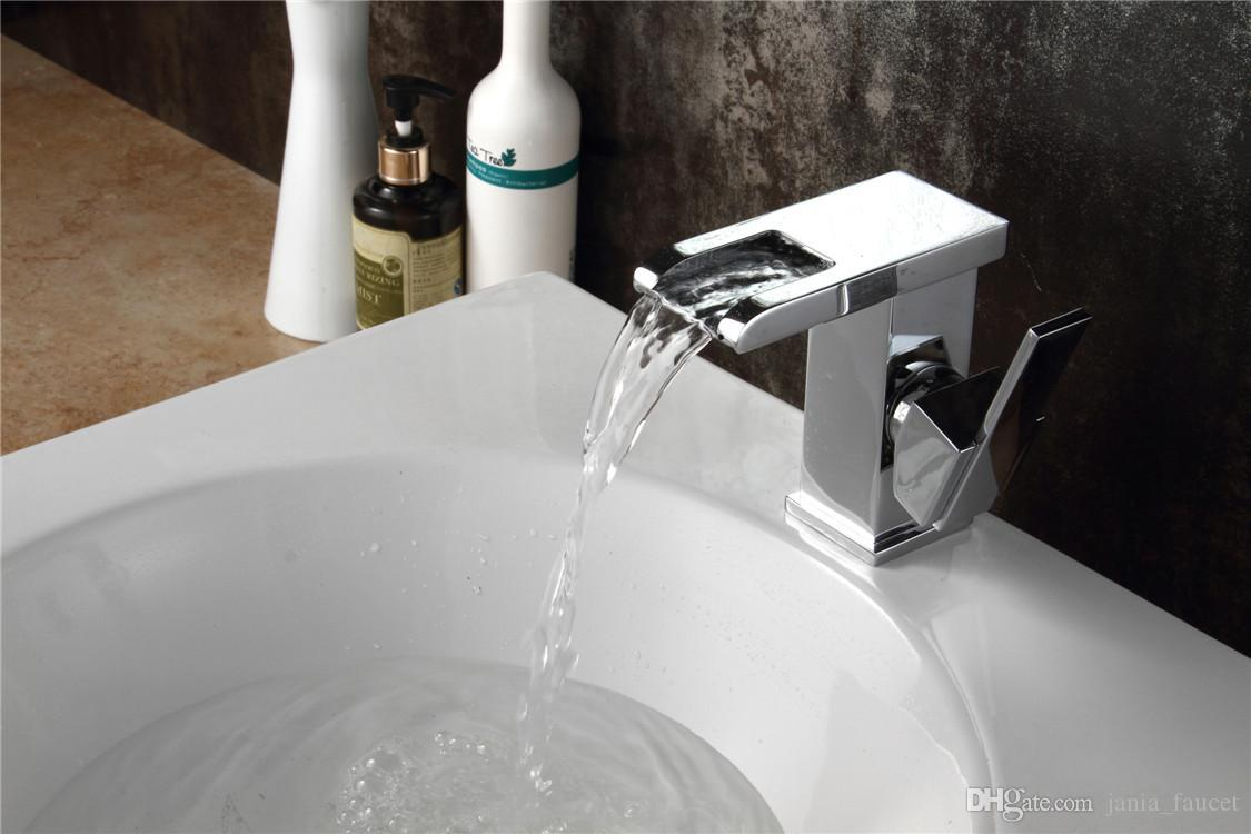 2018 Led Colorful Basin Sink Waterfall Bathroom Water Washing Faucet ...