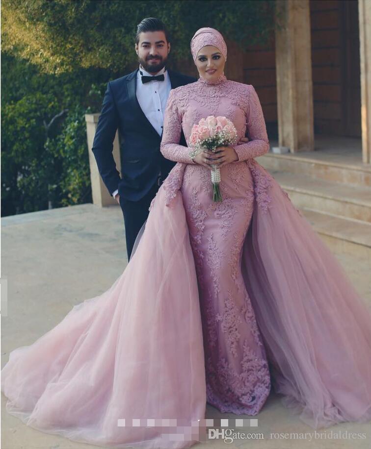 Dusty Pink Mermaid Lace Wedding Dresses Long Sleeve Muslim Bridal ...